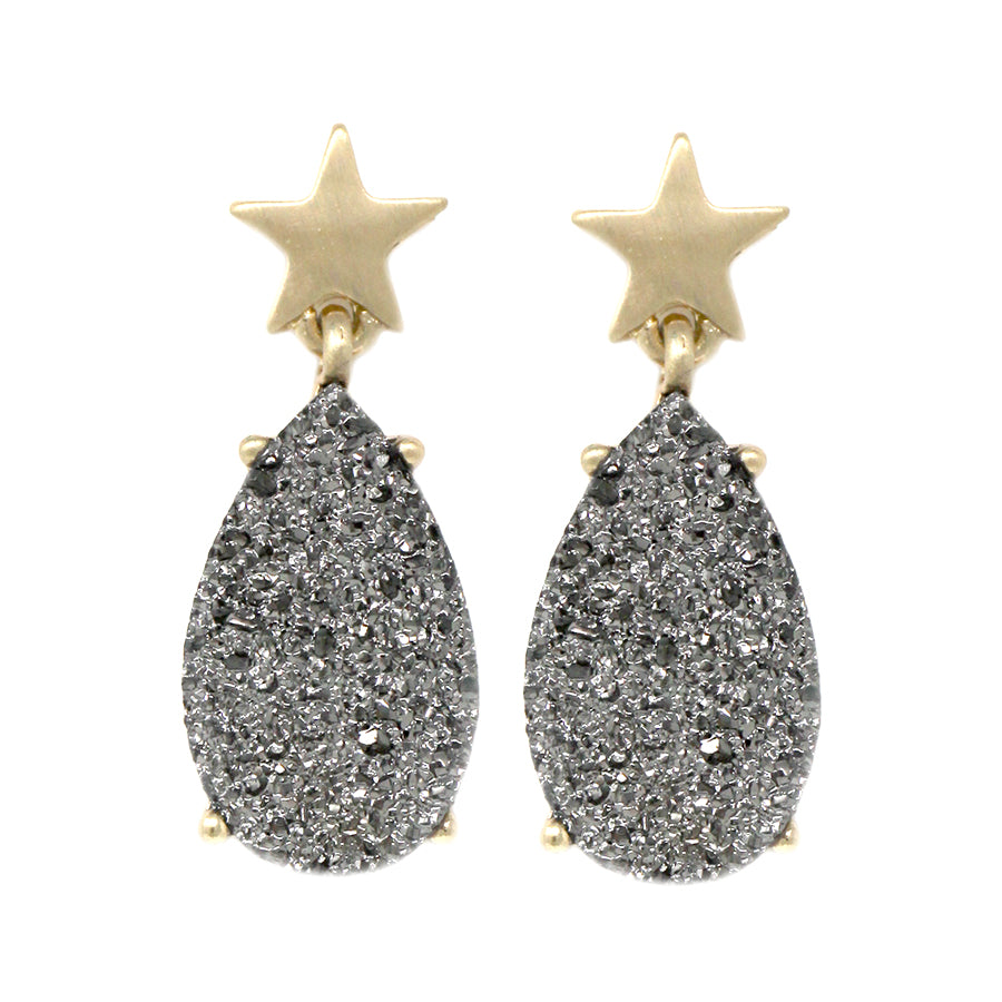 Star With Druzy Tear Drop Earrings