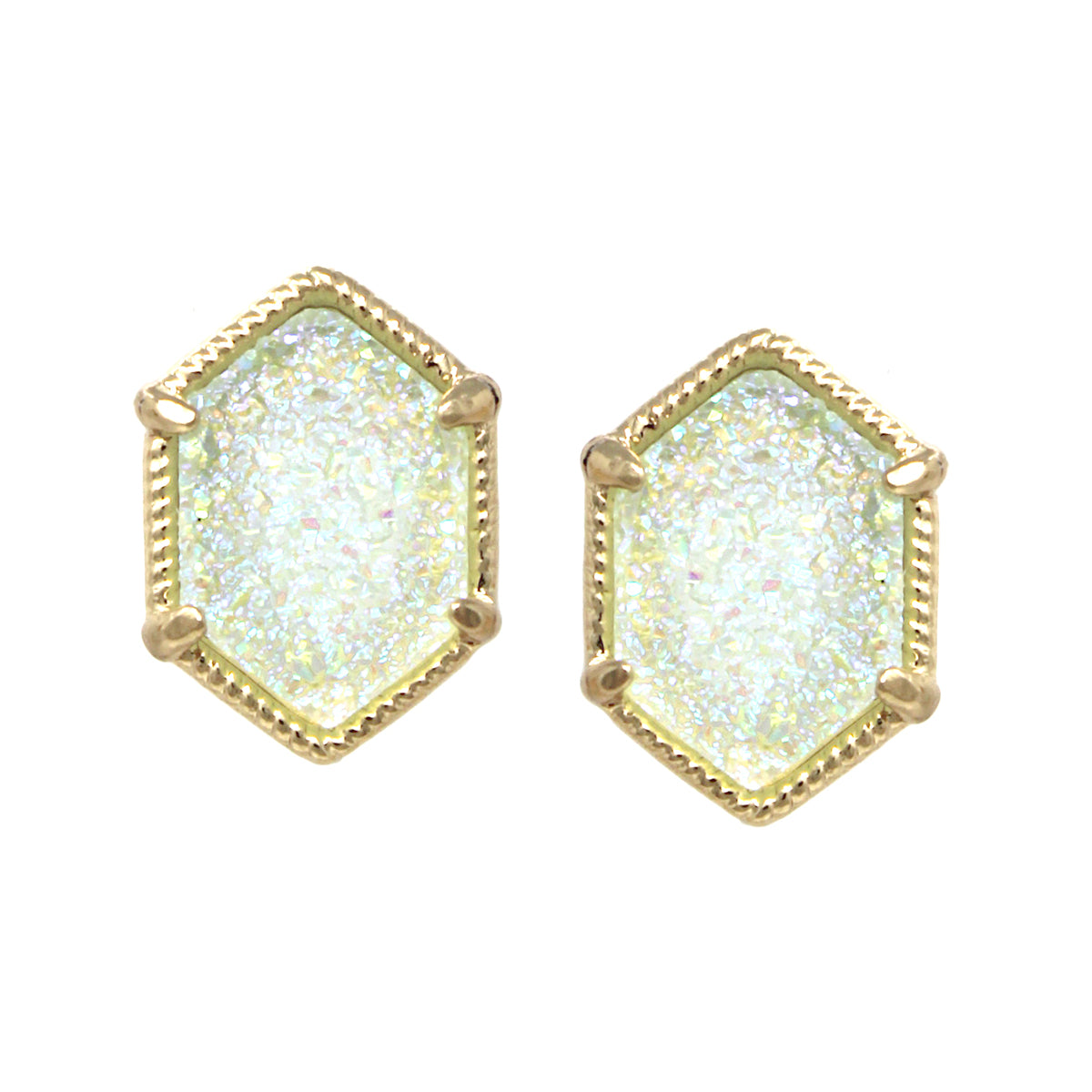 Metal Framed Hexagon Druzy Stone Stud Earrings