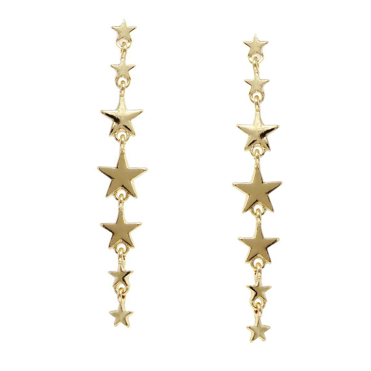 Metal Star Linear Drop Earrings