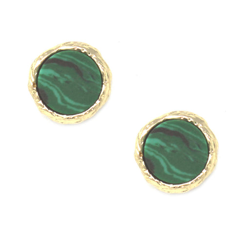 Metal Frame Round Natural Stone Stud Earrings