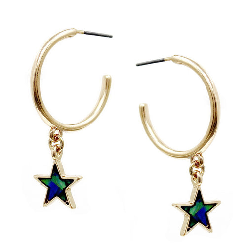 Mother Of Pearl Star Charm Hoop Earrings