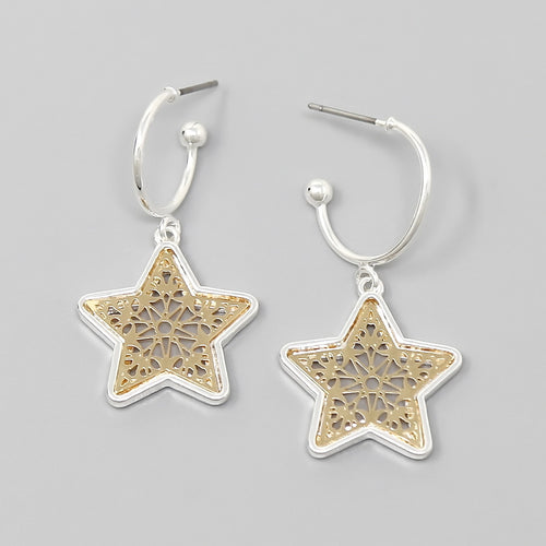 Perforated Star Charm Hoop Earrings