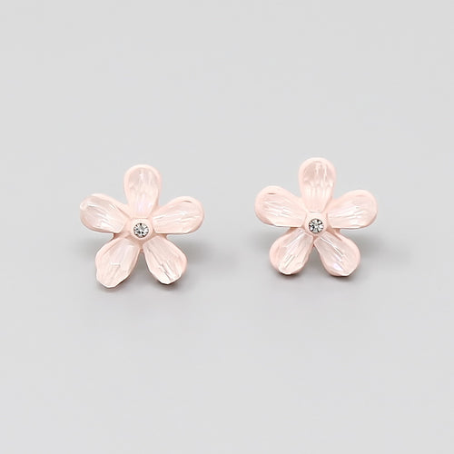Faceted Bead Flower Shape Stud Earrings