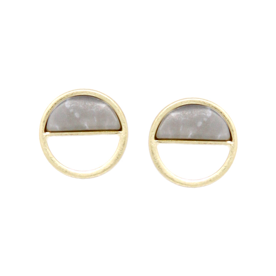 Natural Stone With Mini Hoop Stud Earrings