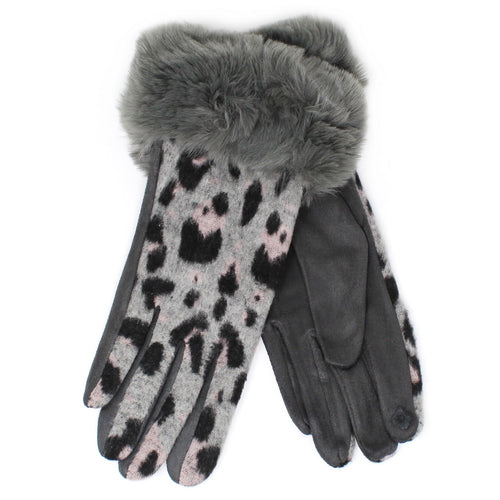 Faux Fur Trimmed Animal Print Gloves