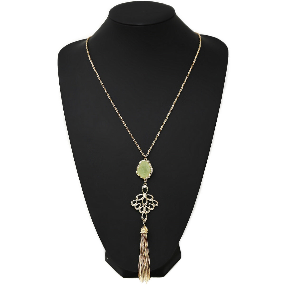 Druzy Stone With Chain Tassel Pendant Long Necklace
