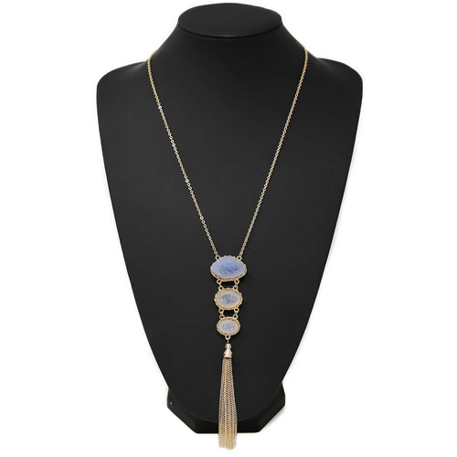 Triple Druzy Stone With Chain Tassel Long Necklace