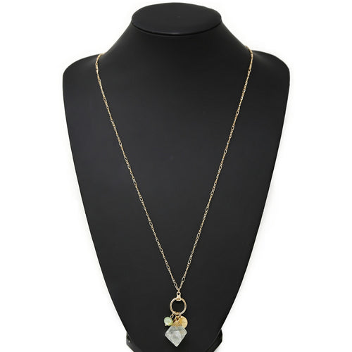 Natural Stone Pendant Long Chain Necklace