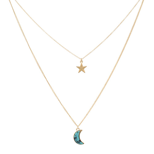 Metal Star Natural Stone Moon Pendant Layered Necklace