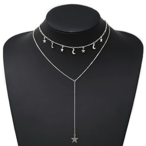 Moon And Star Charm Layered Lariat Necklace