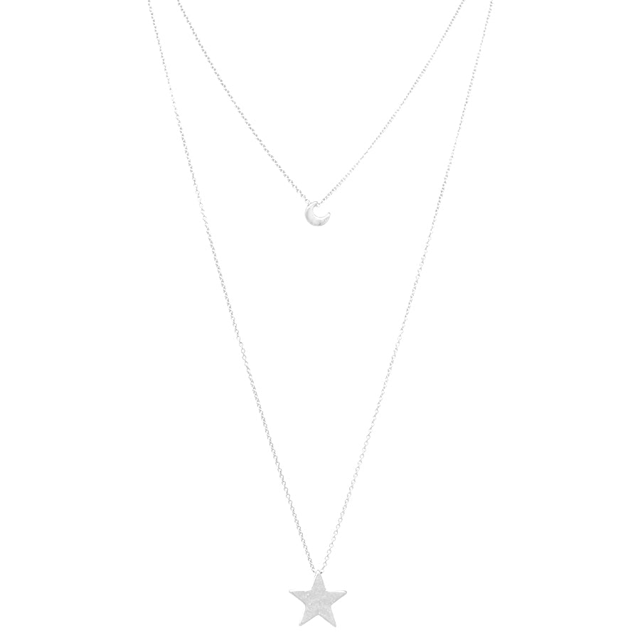 Moon And Star Pendant Double Layered Necklace
