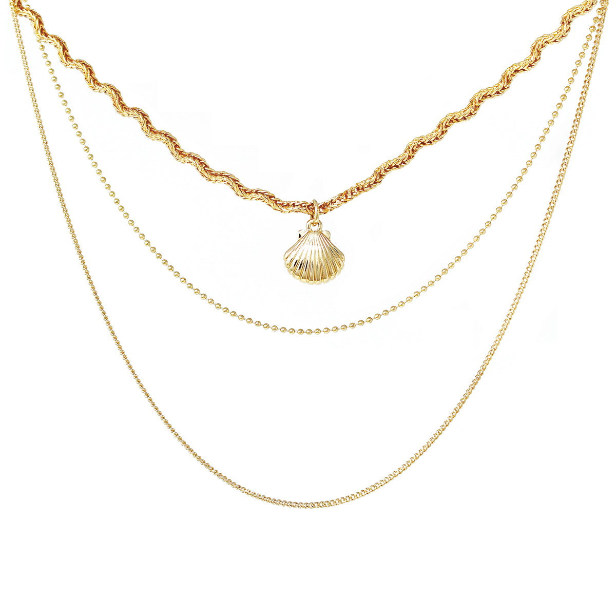 Shell Charm Triple Strand Short Chain Necklace