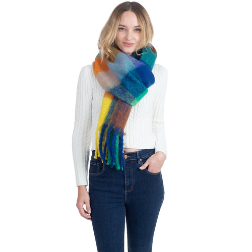 Multi Color Check Print Soft Oblong Scarf With Fringe