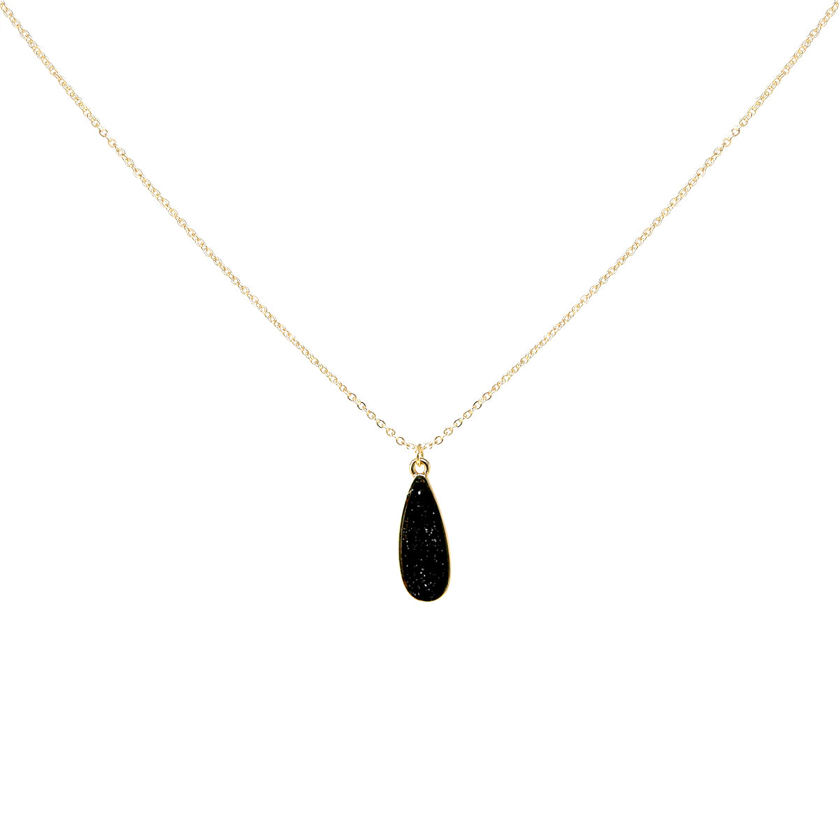 Teardrop Shape Druzy Pendant Short Necklace