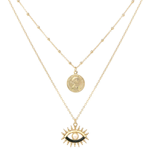 Coin And Pearl Bead Pave Eye Pendant Layered Short Necklace