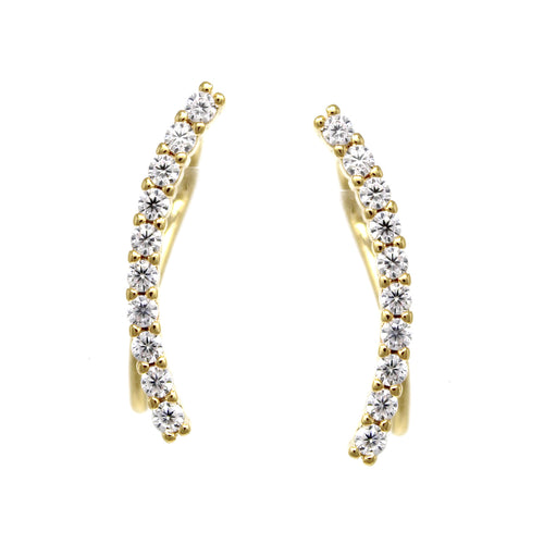 Cubic Zirconia Pave Curved Bar Ear Crawlers