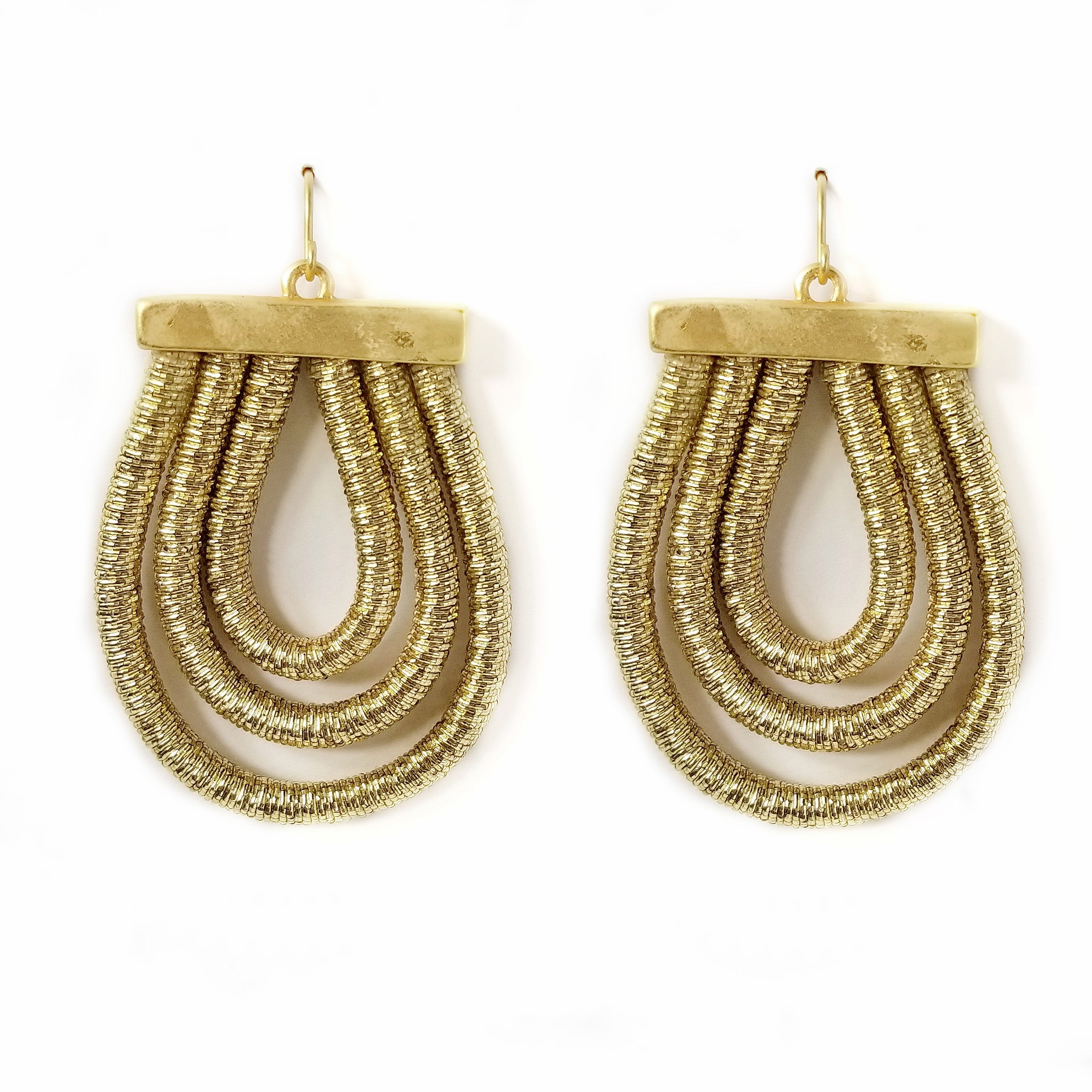 Layered Tread Wrapped Drop Earrings