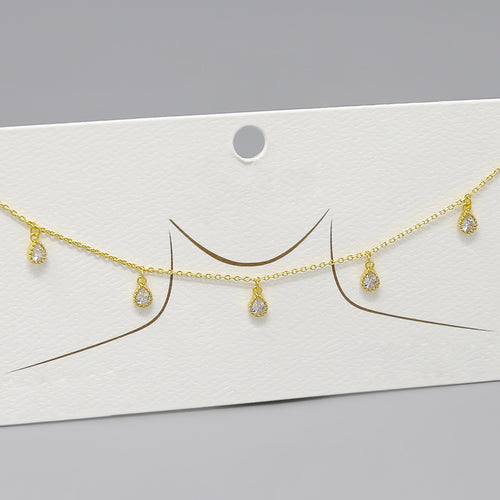 Gold Dipped Teardrop Shape Cubic Zirconia Dangle Short Necklace