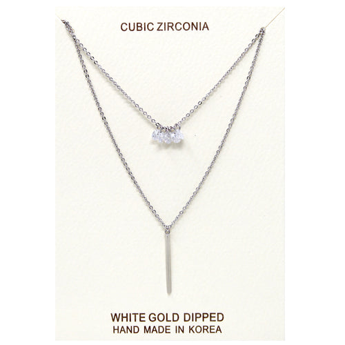Cubic Zirconia With Bar Pendant Double Layered Gold Dipped Necklace
