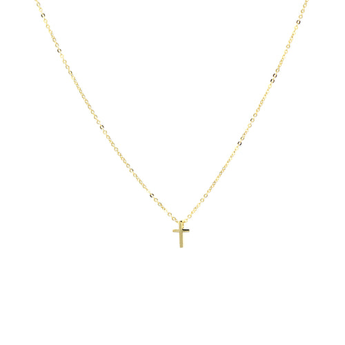 Gold Dipped Cross Pendant Short Necklace