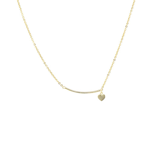 Skinny Curved Bar With Heart Dangle Short Necklace
