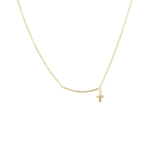Skinny Curved Bar With Cross Dangle Short Necklace