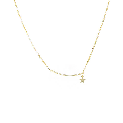 Skinny Curved Bar With Star Dangle Short Necklace