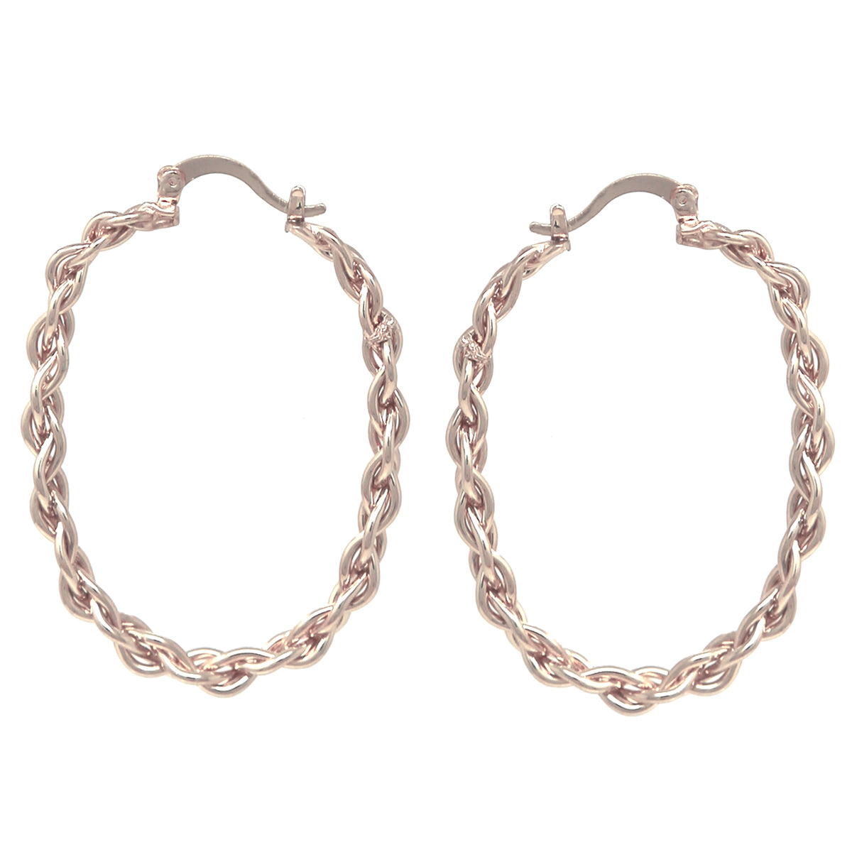Hypo Allergenic Linked Chain Oval Hoop Earrings (Large)