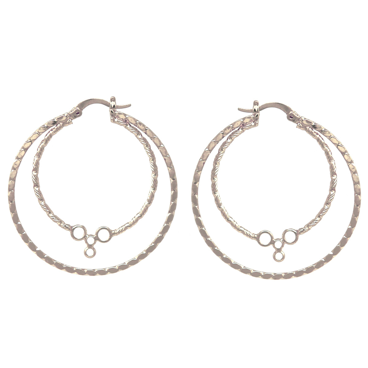 Hypo Allergenic Double Ribbed Hoop Earrings (Large)