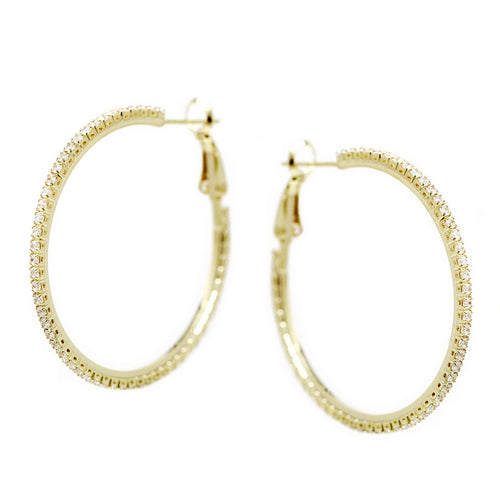 CZ Pave Hoop Earrings (40 mm)