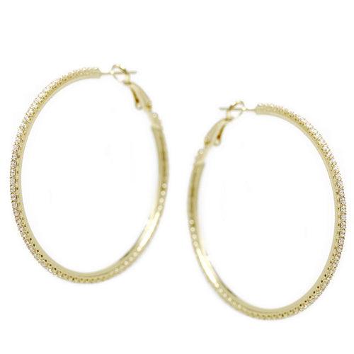 CZ Pave Hoop Earrings (50 mm)