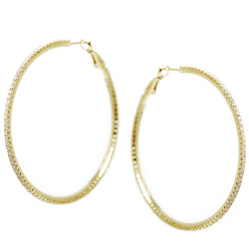 CZ Pave Hoop Earrings (60 mm)