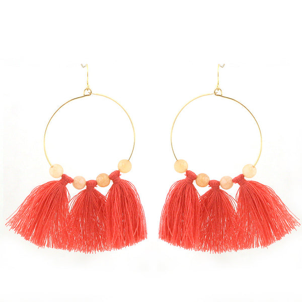 Semi Precious Stone with Tassel Hoop Earrings