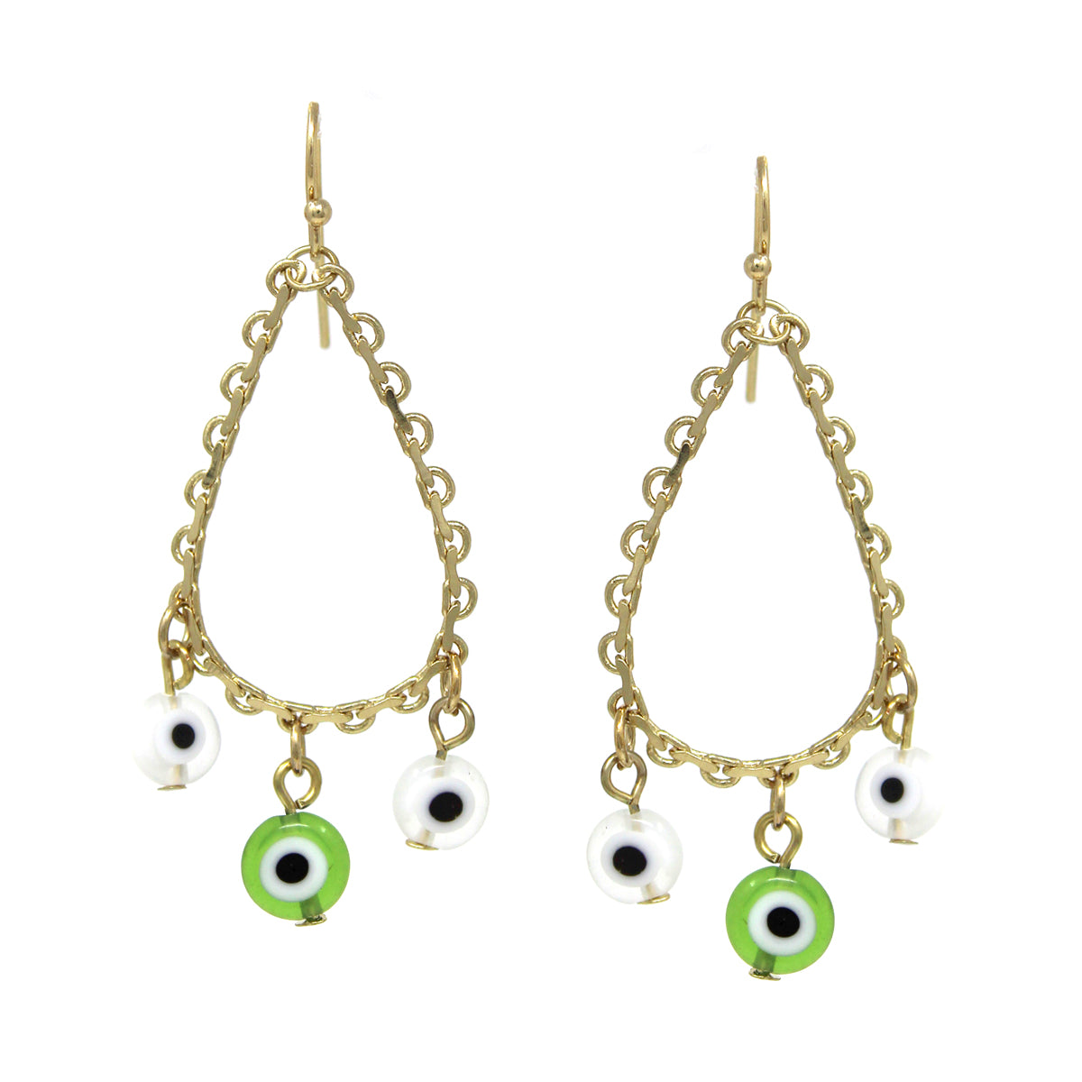 Teardrop Chain Evil Eye Fringe Earrings