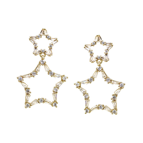 Cubic Zirconia Pave Star Shape Drop Earrings
