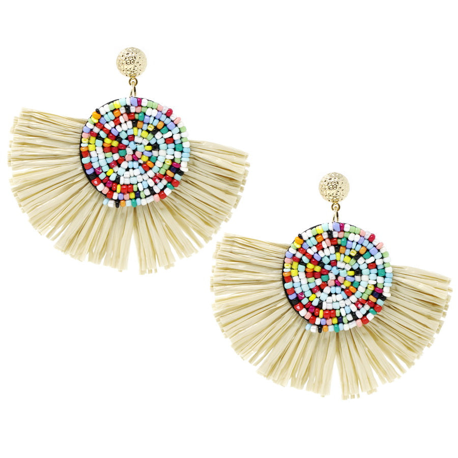 Seed Beaded Disc Raffia Fringe Oversized Drop Earrings