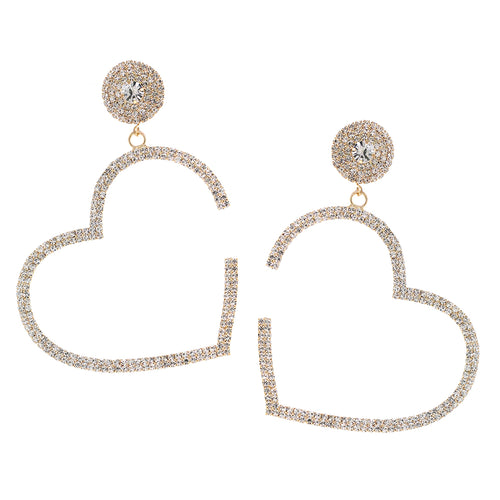 Rhinestone Pave Heart Shape Hoop Drop Earrings