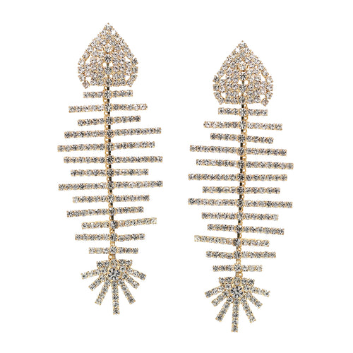 Rhinestone Pave Fish Bone Statement Earrings
