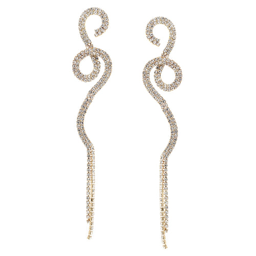 Rhinestone Pave Wave Long Drop Earrings
