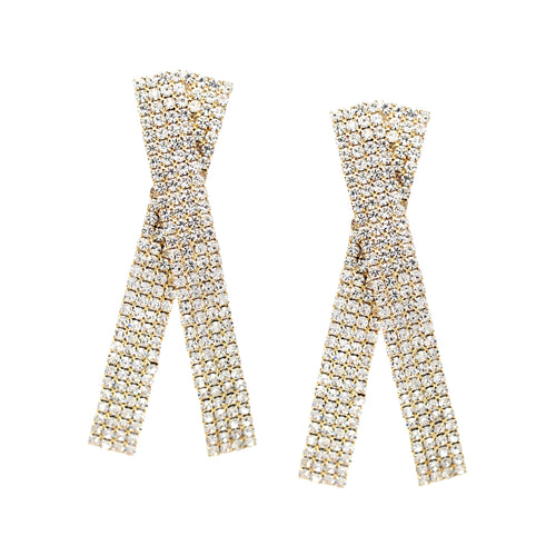 Rhinestone Pave Bar Layered Statement Earrings