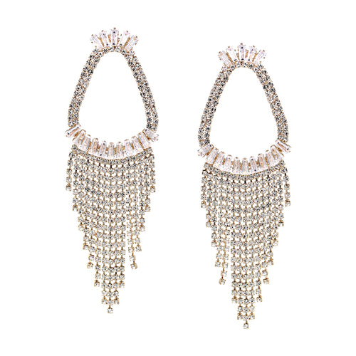 Cubic Zirconia With Rhinestone Chain Fringe Drop Earrings