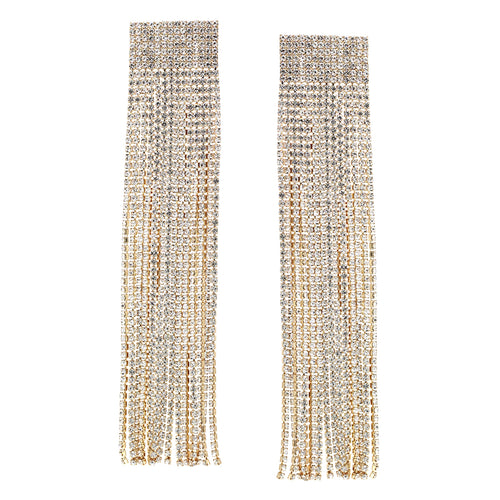 Rhinestone Pave Chain Fringe Drop Statement Earrings