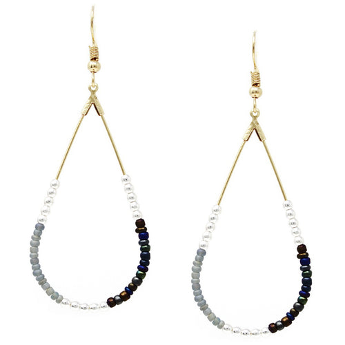 Metal And Seed Beaded Teardrop Earrings
