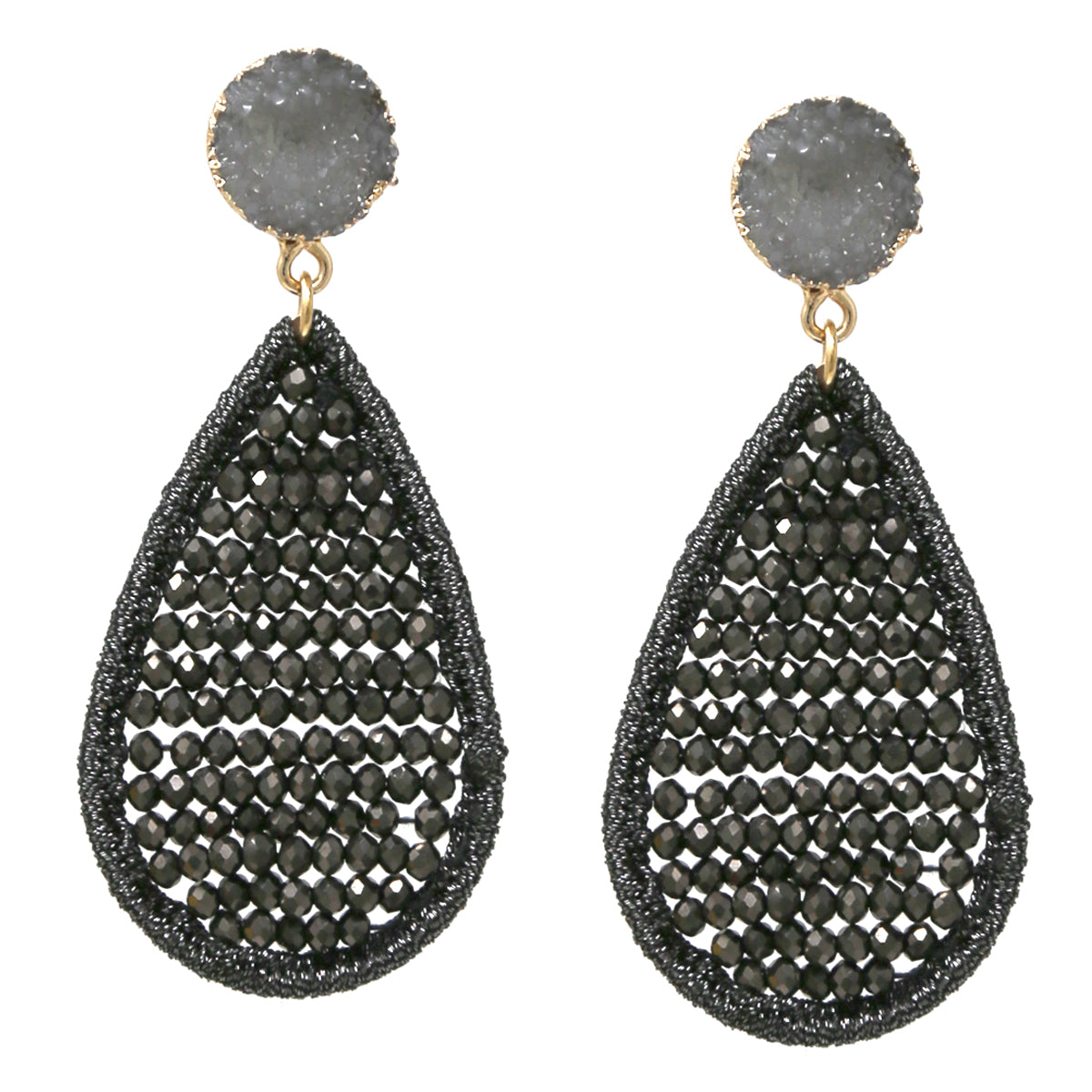 Druzy Stone Glass Beaded Teardrop Earrings