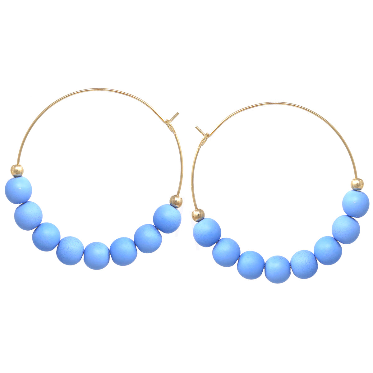 Color Ball Beaded Hoop Earrings