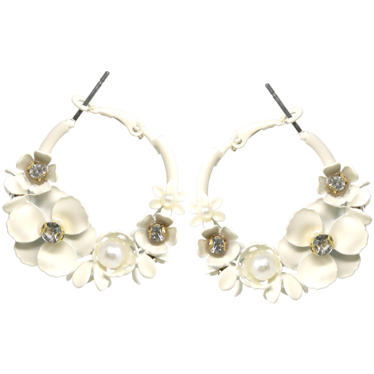 Rhinestone Embellished Color Flower Cluster Hoop Earrings