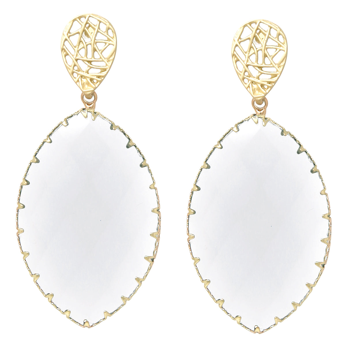 Faceted Marquise Glass Stone Drop Earrings
