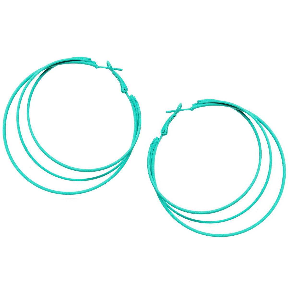 Color Coated Triple Hoop Earrings