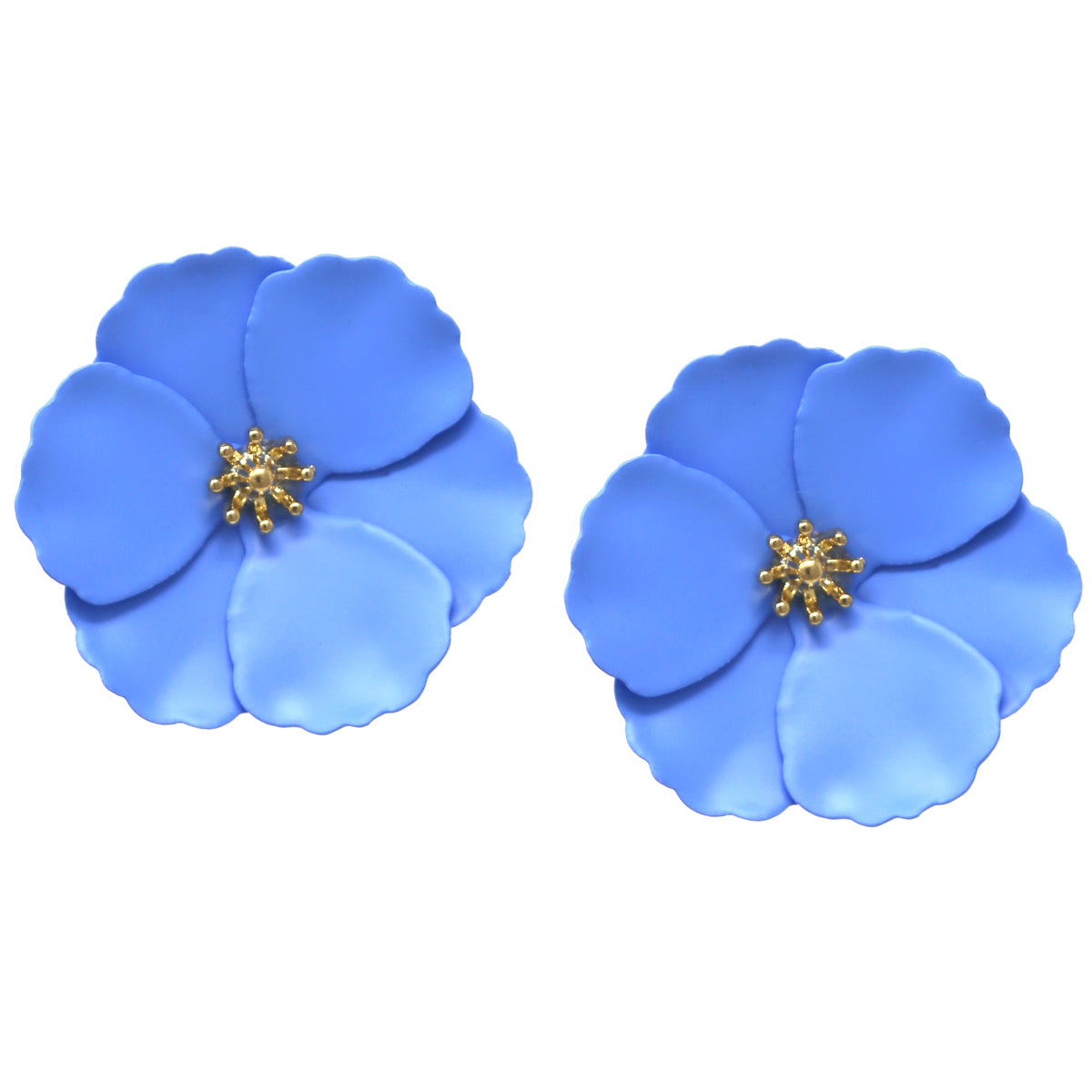 Chunky Color Coated Metal Flower Stud Earrings