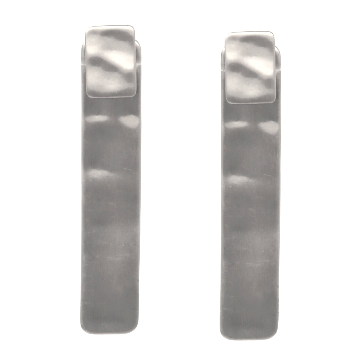 Hammered Texture Metal Bar Double Sided Earrings